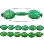 Bruz Beads, Bruz sintetike, Oval Flat, asnjë, asnjë, e gjelbër, 25x18x8mm, : 2mm, :16Inç, 10Fillesat/Shumë,  Shumë