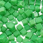 Glass Beads Japanese Seed, Seed Glass Beads, Kub, asnjë, ngjyra të forta, e gjelbër, 3mm, : 1mm, 7500PC/Qese,  Qese