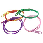 Plastic Bracelet Jewelry, popular zipper bracelet style, harmless, more colors for choice, 24.5x9mm, 34x10mm, 6mm, Sold per approx 7.5-Inch Strand