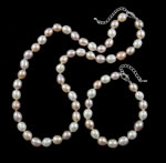 Natyrore kulturuar Pearl ujërave të ëmbla bizhuteri Sets, Pearl kulturuar ujërave të ëmbla, Oriz, natyror, ngjyra të përziera, 8mm, :16.5Inç,  7Inç,  I vendosur