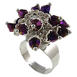 Crystal Zinc Alloy Finger Ring, Flower, with rhinestone, platinum color plated, nickel, lead & cadmium free, Size 7, 27x27.5mm, Hole:Approx 17.5MM, Sold by PC