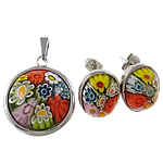 Millefiori Glass Jewelry Sets, Pendant & Stud Earrings, with stainless steel component, 23x34x8mm, 13x16x7.7mm, Hole:Approx 4x6MM, Sold by Set