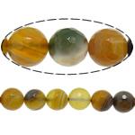 Natürliche Kaffee Achat Perlen, rund, facettierte, 10mm, Bohrung:ca. 1.2mm, Länge:15 ZollInch, 5SträngeStrang/Menge, verkauft von Menge
