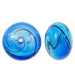 Beads lulëzim Lampwork, Round Flat, fryj, asnjë, asnjë, 16.5x11mm, : 2-2.5mm, 50PC/Qese,  Qese