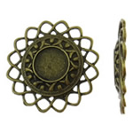 Cilësimet Zink Alloy Cabochon, Lule, Ngjyra antike bronz i praruar, asnjë, asnjë, , nikel çojë \x26amp; kadmium falas, 49x49x5mm, 50PC/Qese,  Qese