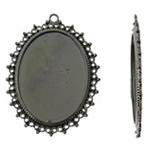 Cilësimet Zink Alloy Cabochon, Oval, plumbit ngjyrë të zezë praruar, asnjë, asnjë, , nikel çojë \x26amp; kadmium falas, 38.50x51x2mm, : 2mm, 50PC/Qese,  Qese