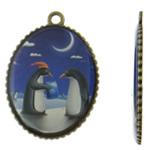 Pendants Decal aliazh zink, Oval, Ngjyra antike bronz i praruar, asnjë, asnjë, , nikel çojë \x26amp; kadmium falas, 35.50x49.50x2.50mm, : 3.5mm, 50PC/Qese,  Qese