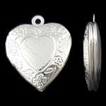 Varëse medalion Zink Alloy, Zemër, Ngjyra argjend praruar, asnjë, asnjë, , nikel çojë \x26amp; kadmium falas, 19x23x5mm, : 1.5mm, 50PC/Qese,  Qese