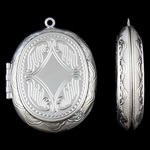 Varëse medalion Zink Alloy, Alloy zink, Oval, Ngjyra argjend praruar, asnjë, asnjë, , nikel çojë \x26amp; kadmium falas, 39x52x10mm, : 3mm, 50PC/Qese,  Qese