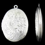 Varëse medalion Zink Alloy, Oval, Ngjyra argjend praruar, asnjë, asnjë, , nikel çojë \x26amp; kadmium falas, 23.50x33.50x7mm, : 1.5mm, 50PC/Qese,  Qese
