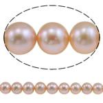 Round Beads kulturuar Pearl ujërave të ëmbla, Pearl kulturuar ujërave të ëmbla, natyror, rozë, 9-10mm, : 0.8mm, : 15.8Inç,  15.8Inç,