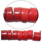 Beads Natyrore Coral, Coral Natyrore, Rondelle, i lyer, i kuq, 8mmx3-7mm, : 1.2mm, :17Inç, 10Fillesat/Shumë,  Shumë