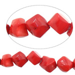 Beads Natyrore Coral, Coral Natyrore, Nuggets, i lyer, i kuq, 11-16x11-16mm, : 1.5mm, :16.5Inç, 10Fillesat/Shumë,  Shumë