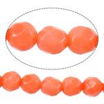 Beads Natyrore Coral, Coral Natyrore, Round, kuq pak portokalli, 4mm, : 1mm, :16Inç, 10Fillesat/Shumë,  Shumë