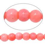 Beads Natyrore Coral, Coral Natyrore, Round, i lyer, rozë, 3mm, : 0.8mm, :16Inç, 10Fillesat/Shumë,  Shumë