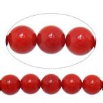 Beads Natyrore Coral, Coral Natyrore, Round, i lyer, i kuq, 8mm, : 1.5mm, :15.7Inç, 10Fillesat/Shumë,  Shumë
