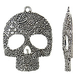 Pendants Skull Alloy zink, Kafkë, Ngjyra antike argjendi praruar, asnjë, asnjë, , nikel çojë \x26amp; kadmium falas, 49x66x6mm, : 4mm, 20PC/Qese,  Qese