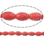Beads Natyrore Coral, Coral Natyrore, Oval, Gdhendur, i kuq, 11x7mm, : 0.5mm, :16Inç, 10Fillesat/Shumë,  Shumë