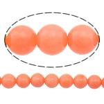 Beads Natyrore Coral, Coral Natyrore, Round, i lyer, kuq pak portokalli, 5mm, : 0.5mm, :15.5Inç, 10Fillesat/Shumë,  Shumë