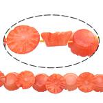 Beads Natyrore Coral, Coral Natyrore, Lule, Gdhendur, kuq pak portokalli, 11x11x6mm, : 0.5mm, :16Inç, 10Fillesat/Shumë,  Shumë