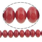 Beads Natyrore Coral, Coral Natyrore, Rondelle, i lyer, i kuq, 7x5mm, : 0.5mm, :16Inç, 10Fillesat/Shumë,  Shumë