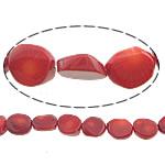 Beads Natyrore Coral, Coral Natyrore, Nuggets, i lyer, i kuq, 15x12x5mm, : 0.5mm, :16Inç, 10Fillesat/Shumë,  Shumë