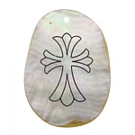 Pendants Natyrore White Shell, Oval Flat, brushwork, asnjë, asnjë, 29x44x2mm, : 3mm, 20PC/Shumë,  Shumë