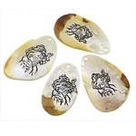 Pendants Natyrore White Shell, Lot, brushwork, asnjë, e bardhë, 24-33x42-47x3-2mm, : 2mm, 20PC/Shumë,  Shumë