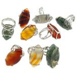 Agat unazë gishti, Tunxh, with Agat, Syri kali, ngjyrë platin praruar, asnjë, asnjë, , nikel çojë \x26amp; kadmium falas, 33.50x17mm, :5, 9PC/Shumë,  Shumë