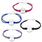 Velvet Bracelets Fashion Cord, Kurrizit Lesh, with Alloy zink, ngjyra të përziera, 22.5x22.5x2mm, 2mm, :7Inç, 50Fillesat/Shumë,  Shumë