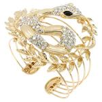 Zink Alloy kyç i dorës bizhuteri, Alloy zink, Gjarpër, ngjyrë ari praruar, me diamant i rremë, asnjë, , nikel çojë \x26amp; kadmium falas, 68x73x60mm, : 7Inç, 5PC/Qese,  Qese