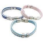 Cord Bracelets PU, Shape Tjera, ngjyrë platin praruar, 3-fije floku, ngjyra të përziera, 11mm, 7x13mm, 36x13mm, :9Inç, 30Fillesat/Shumë,  Shumë