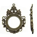 Zink-Legierung Cabochon Weissgold, Zinklegierung, Tropfen, antike Bronzefarbe plattiert, frei von Nickel, Blei & Kadmium, 47x63.50x2.50mm, Bohrung:ca. 3mm, ca. 70PCs/kg, verkauft von kg