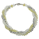 Bracelets Crystal, Kristal, Rondelle, ngjyrë platin praruar, 3-fije floku & faceted, ngjyra të përziera, 8mm, 4x3mm, 6x5mm, : 8Inç, 10Fillesat/Shumë,  Shumë