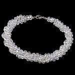 Bracelets Crystal, Kristal, Rondelle, ngjyrë platin praruar, colorful kromuar & faceted, asnjë, 8mm, 4x3mm, :8Inç, 10Fillesat/Shumë,  Shumë