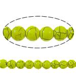 Bruz Beads, Bruz sintetike, Round, pikturë, i verdhë, 8mm, : 1mm, : 15.7Inç, 54PC/Fije floku,  15.7Inç,