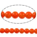 Bruz Beads, Bruz sintetike, Round, pikturë, kuq pak portokalli, 8mm, : 1mm, : 15.7Inç, 54PC/Fije floku,  15.7Inç,