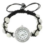 Shamballa Rights Watch, Alloy zink, with diamant i rremë Shtrim bead & Cord Wax & Jo-magnetike kuqe e mbylltë, Shape Tjera, ngjyrë platin praruar, asnjë, asnjë, , nikel çojë \x26amp; kadmium falas, 27.50x30x8mm, : 7.5Inç, 10Fillesat/Qese,  Qese