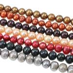 Patates Beads ujërave të ëmbla kulturuar Pearl, Pearl kulturuar ujërave të ëmbla, i lyer, ngjyra të përziera, 10-11mm, : 0.8mm, : 16.5Inç, 50Fillesat/Qese,  Qese