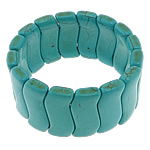 Fashion Bracelets Turquoise, Bruz sintetike, with Thread elastik, Shape Tjera, i lyer, asnjë, e gjelbër, 13x32x6mm, :8Inç, 20Fillesat/Shumë,  Shumë