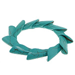Fashion Bracelets Turquoise, Bruz sintetike, with Thread elastik, Shape Tjera, i lyer, asnjë, e gjelbër, 15x38mm, :8Inç, 20Fillesat/Shumë,  Shumë