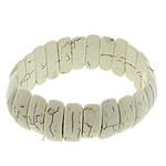 Fashion Bracelets Turquoise, Bruz sintetike, with Thread elastik, Shape Tjera, asnjë, asnjë, e bardhë, 8x23x6mm, :8Inç, 20Fillesat/Shumë,  Shumë