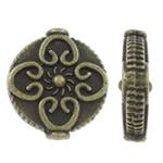 Beads aliazh zink Flat, Alloy zink, Round Flat, Ngjyra antike bronz i praruar, asnjë, asnjë, , nikel çojë \x26amp; kadmium falas, 12.50x14.50x4.50mm, : 1.5mm, 525PC/KG,  KG