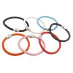 Cord Bracelets PU, Shape Tjera, ngjyrë platin praruar, asnjë, ngjyra të përziera, 6.5mm, 18x12mm, :8.8Inç, 50Fillesat/Shumë,  Shumë