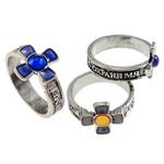 Finger smalt Mood Ring, Tunxh, Kryq, Ngjyra antike argjendi praruar, humor smalt, asnjë, , nikel çojë \x26amp; kadmium falas, 13-14mm, :6.5, 100PC/Kuti,  Kuti