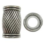 Beads Zink Alloy Tube, Alloy zink, Ngjyra antike argjendi praruar, vrimë e madhe, asnjë, , nikel çojë \x26amp; kadmium falas, 11x17mm, : 6.5mm, 190PC/KG,  KG