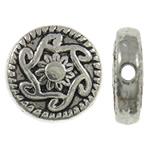 Beads aliazh zink Flat, Alloy zink, Monedhë, Ngjyra antike argjendi praruar, asnjë, asnjë, , nikel çojë \x26amp; kadmium falas, 10x3mm, : 1mm, 765PC/KG,  KG