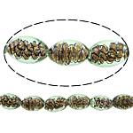 Inner Beads Lampwork Twist, Oval, asnjë, kthesë brendshme, drita e gjelbër, 16x11mm, : 2mm, :11Inç, 5Fillesat/Shumë,  Shumë