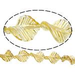 Beads praruar Lampwork, Gjethe, colorful kromuar, asnjë, të verdhë të artë, 33x25x8mm, : 3mm, :11Inç, 2Fillesat/Shumë,  Shumë