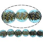 Inner Beads Lampwork Twist, Round, asnjë, kthesë brendshme, dritë blu, 12mm, : 1mm, :10Inç, 5Fillesat/Shumë,  Shumë